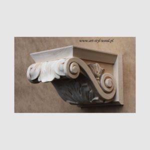 drewniany korbel, drewniane ozdoby do mebli kuchennych, ozdobny wspornik drewniany, kapitel drewniany, dekor do stylizowanych kuchni, ornament meblowy