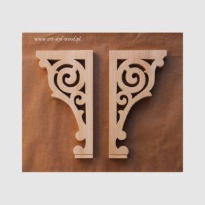 drewniana podpora pod półkę, ozdobny wspornik drewniany, drewniana ozdoba meblowa, drewniany filar ozdobny, ręcznie rzeźbione ornamenty, dekory meblowa